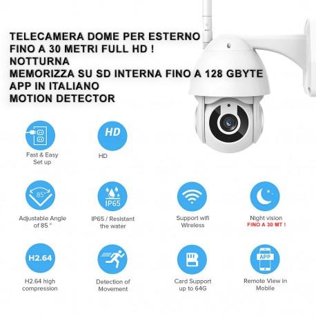 OMAGGIO +1000€ IP CAMERA DOME TELECAMERA ULTRA HD 1080P SD-CARD FINO 128GB ESTERNO ONVIF ZOOM 5X